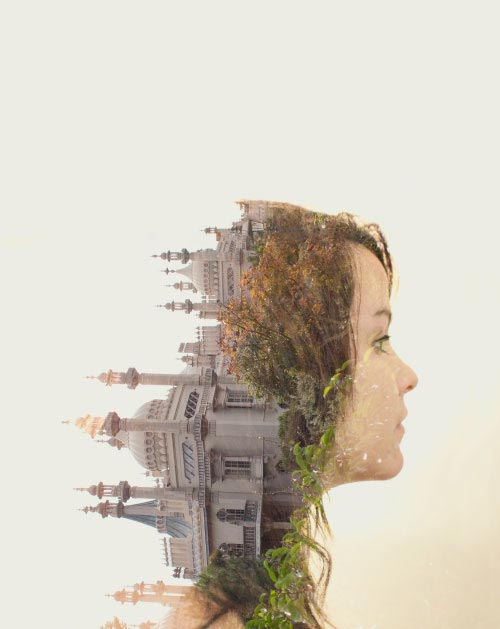 Woman in profile, whose hair is replaced by a grove of trees and the Taj Mahal.