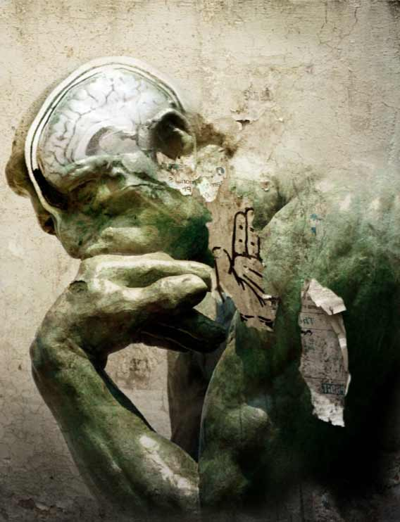A painting of The Thinker, a bronze statue by Auguste Rodin. The painting has appearance of cracked plaster, with a faint drawing of a human brain overlaid on The Thinker's cranium.