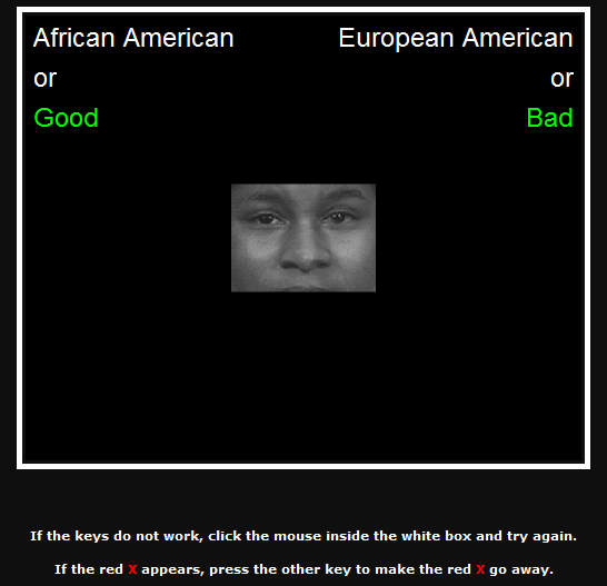 "A screenshot shows a portion of the Implicit Associations Test. At the center a photo of a black man's face, from just above the eyebrows to just above the mouth, can be seen. At the top left corner the words ""African American or Good"" appear. At the top right the words ""European American or Bad"" appear. At the bottom of the screen the following instructions appear, ""If the keys do not work, click the mouse inside the white box and try again. If the red X appears, press the other key to make the red X go away."""