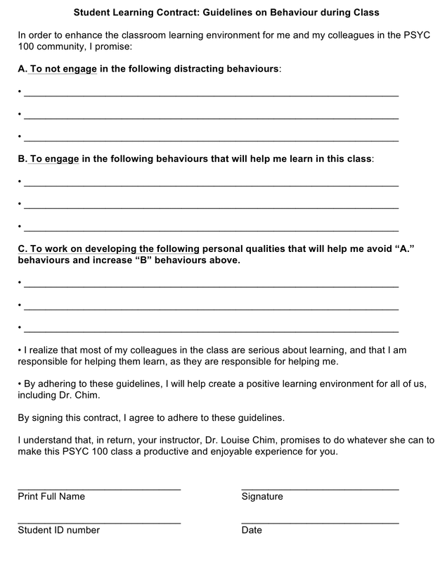 How do you deal with disruptive students consider for Student contracts templates