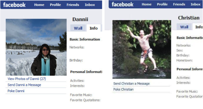 Two Facebook profiles. Danni is a Hong-Kong Chinese woman. Her profile photo shows her standing placidly in a snow covered field with the hint of a smile on her face. In contrast, is the Facebook profile of Christian. He is a European-American man. His profile photo shows him dressed only in shorts and sandals as he jumps into a lake. Christian is shouting and waving his arms as he jumps.