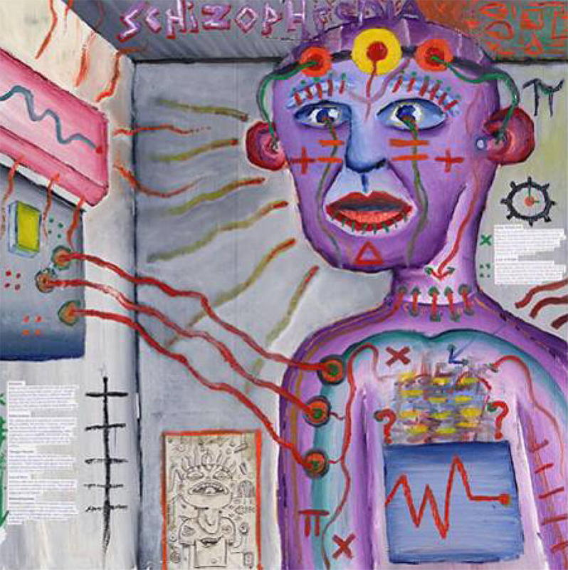 "A painting by Craig Finn, who suffers from schizophrenia, depicting hallucinations. The painting is titled ""Artistic view of how the world feels like with schizophrenia"". The person at the center of the painting is connected by wires to some sort of electrical control panel mounted on the wall of the room in which he is standing. The subject is wearing a headband across his forehead arrayed with several brightly colored discs and his chest is similar to the control panel on the wall. Colorful wavy lines emanate from the subject's body and symbols such as +, Δ, =, and π appear on his face and body."