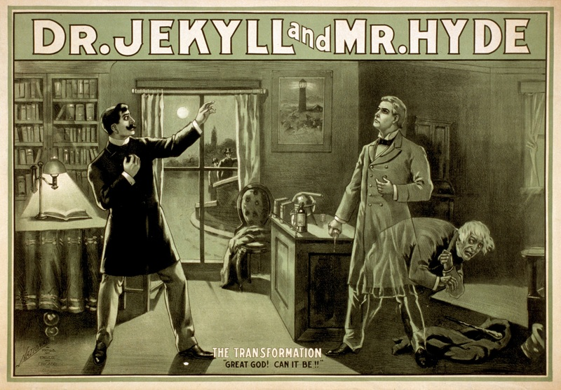 A promotional poster for Robert Louis Stevenson's story The Strange Case of Dr Jekyll and Mr Hyde. The story's portrayal of a split personality has become synonymous with multiple personalities in both lay and scientific literature.