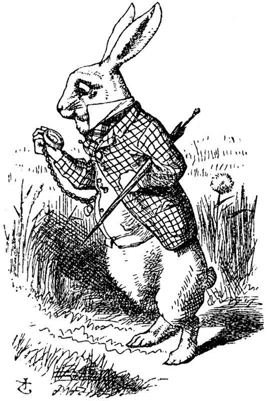 Illustration of the character of the White Rabbit from Lewis Carroll's story Alice's Adventures in Wonderland. The White Rabbit is perhaps best known for his fear of being late.