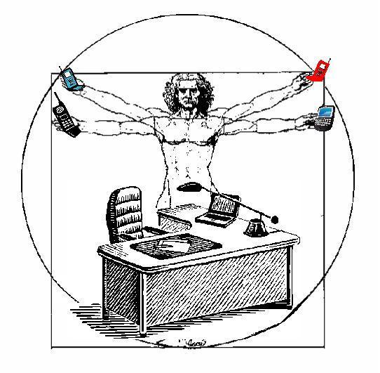 "A version of Leonardo DaVinci's ""Vetruvian Man"" illustration. The vetruvian man is standing behind and office desk holding a mobile phone in each of his four hands."
