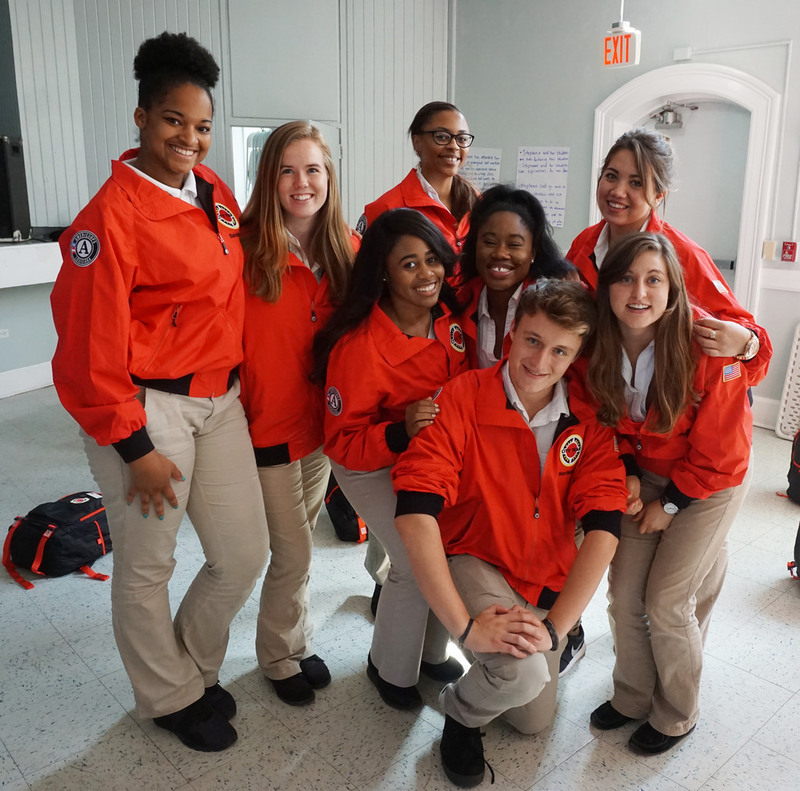A group of young people participating in a US-based Gap Year program called City Year.