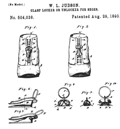 Original drawings submitted to US Patent Office for the invention called the clasp locker. The zippers are shown on a pair of shoes where laces would normally be.