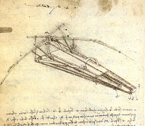 A sketch in one of Leonardo Da Vinci's notebooks of a design for a flying machine.