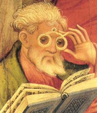 "The ""Glasses Apostle"" painting in the altarpiece of the church of Bad Wildungen, Germany. Painted by Conrad von Soest in 1403, ""Glasses Apostle"" is considered the oldest depiction of eyeglasses north of the Alps."