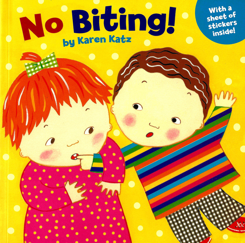 "The cover of a children's book by author Karen Katz, titled ""No Biting""."