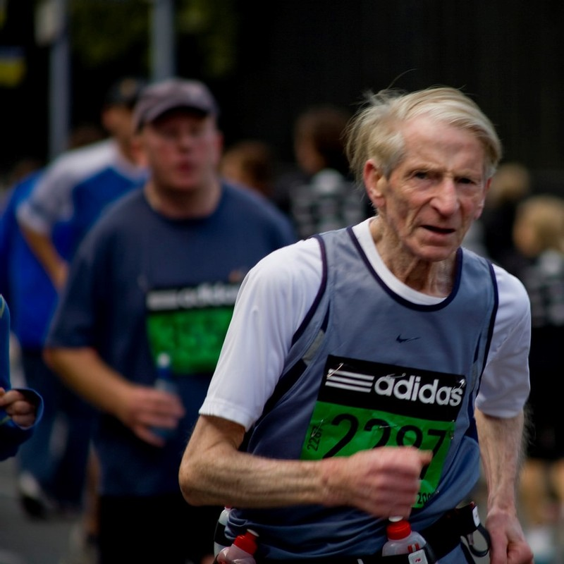 A senior citizen races in the Dublin City Marathon.