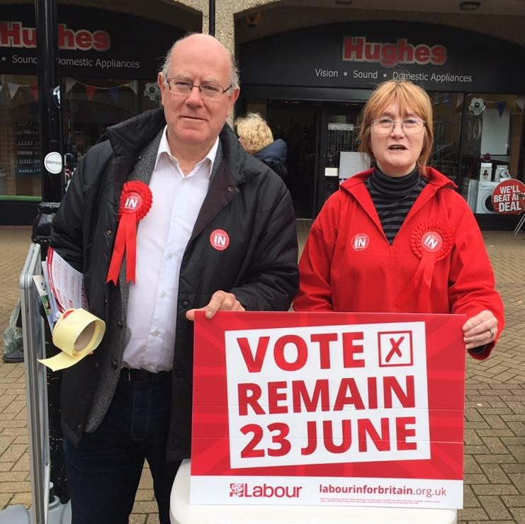 "A man and woman stand behind a campaign sign urging voters to ""Vote Remain 23 June""."