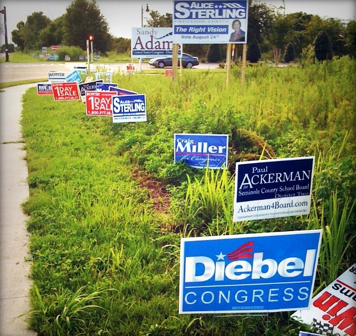 "A field near a road is full of political campaign signs and advertisements for a ""1 day sale""."