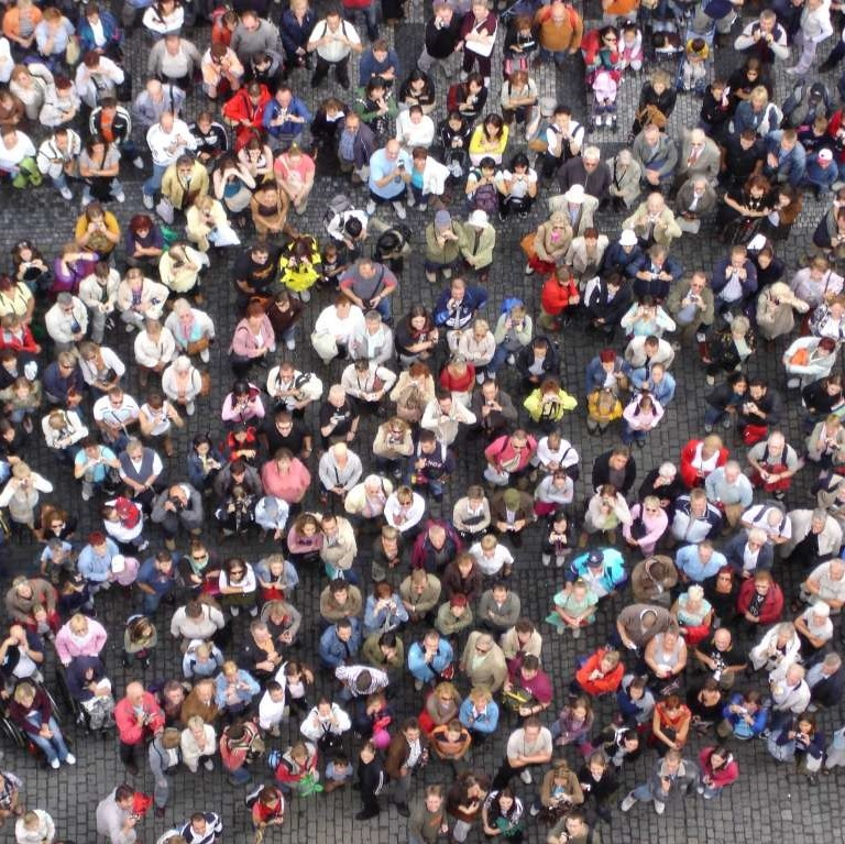 Ariel view of a large crowd.