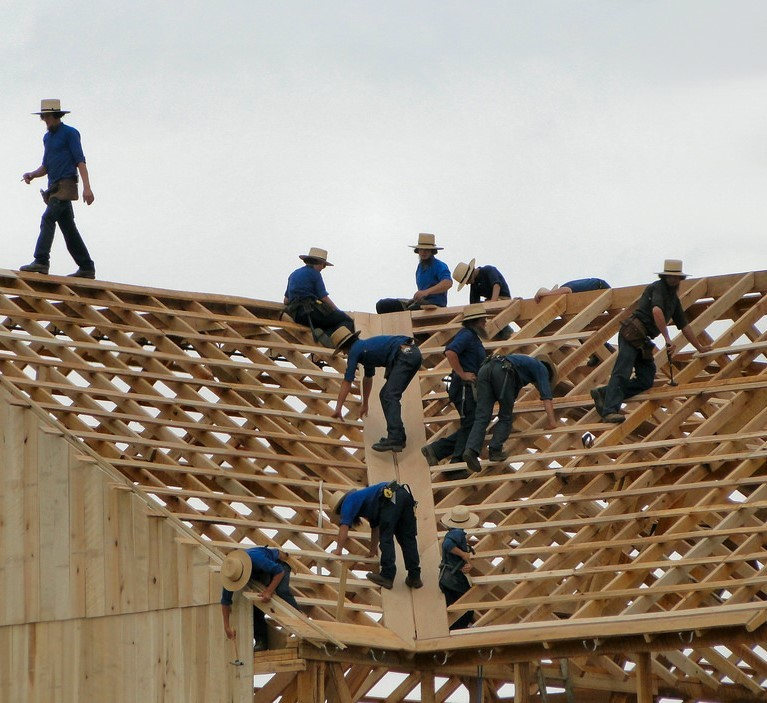 A group of Amish men dressed in traditional clothes and hats work together to build a barn.