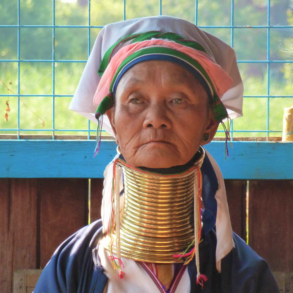 An older Kayan woman (Myanmar) wears traditional clothing and brass rings around her neck. The rings produce the impression that the neck is longer than normal.