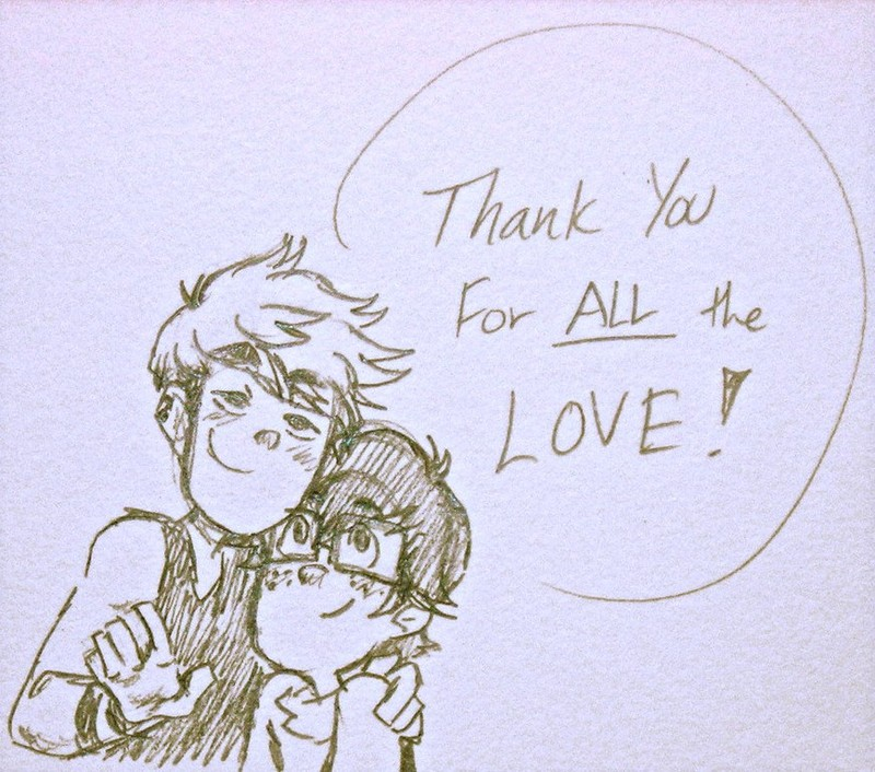 "A hand-drawn thank you card depicting two friends embracing, with the caption, ""Thank you for all the love."""