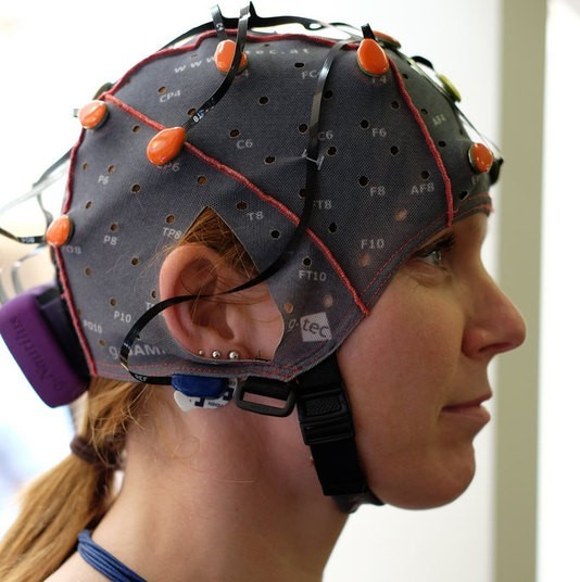 A woman wearing an EEG cap.
