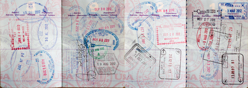 A passport full of stamps.