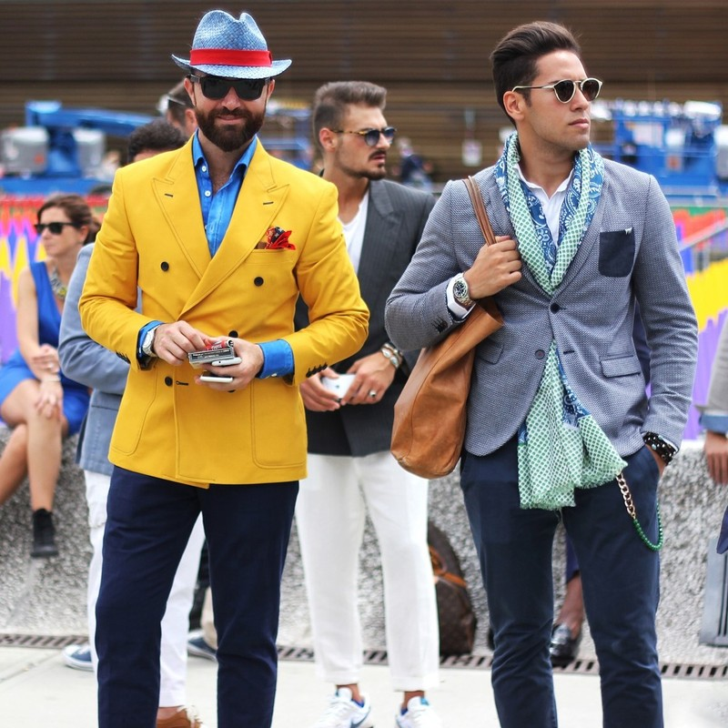 A group of fashion forward young men.