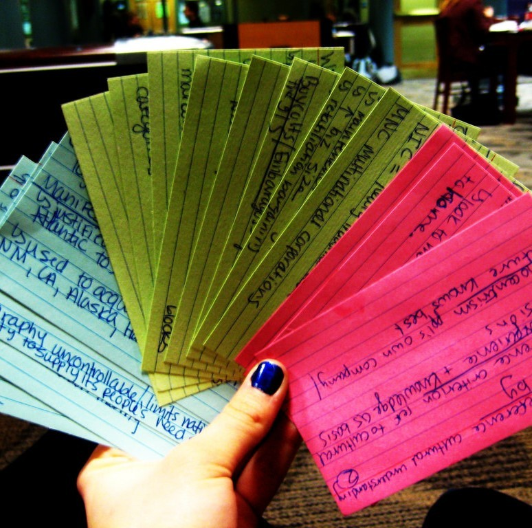 A collection of color-coded flashcards.