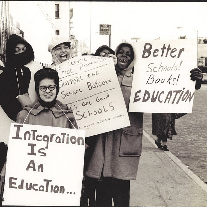 A group of African-Americans demonstrate for integrated education in New York City circa 1964.
