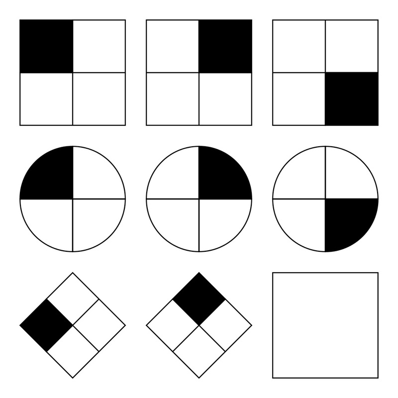 Typical 4x4 patterns used in the Raven's Matrices intelligence test. In each test item, the subject is asked to identify the missing element that completes a pattern.
