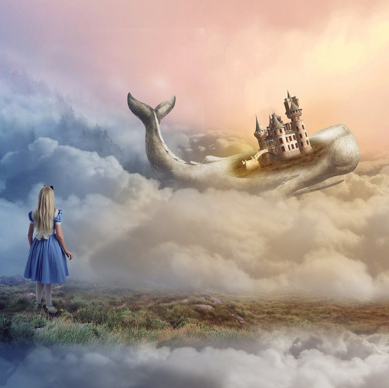 A painting of a dream scene - a girl looks into the clouds at a whale with a castle on its back.