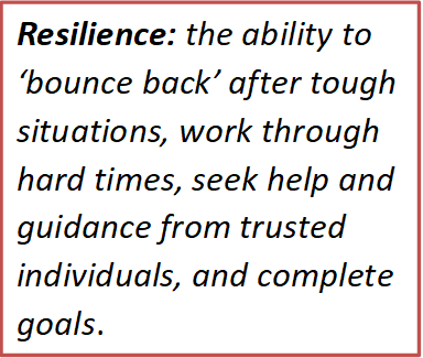 Resilience: The ability to 'bounce back' after tough situations, work through hard times, seek help and guidance from trusted individuals and complete goals.