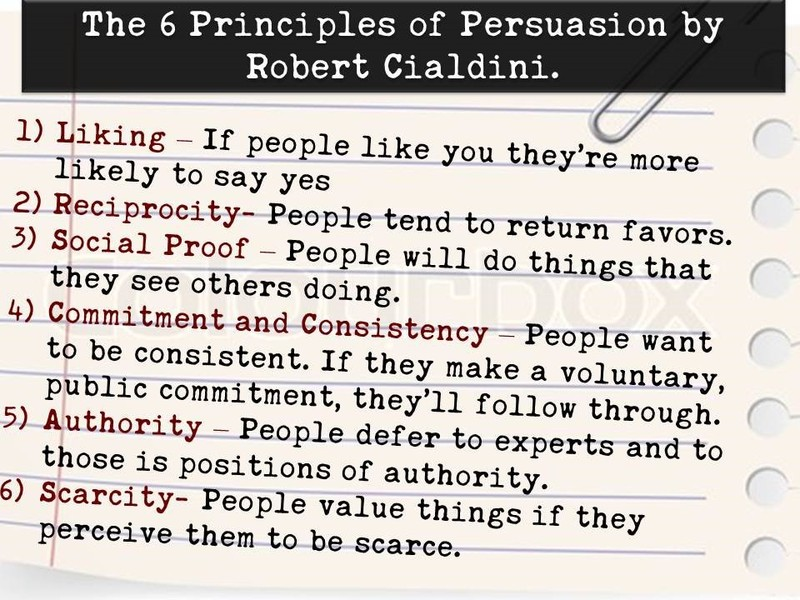 The Six Principles of Persuasion by Robert Cialdini - 1) Liking, 2) Reciprocity, 3) Social Proof, 4) Commitment and Consistency, 5) Authority, 6) Scarcity