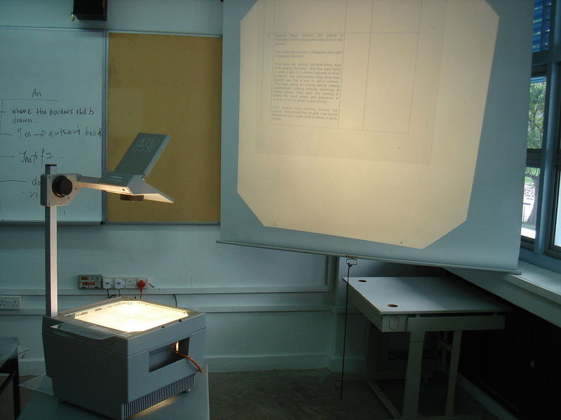 An overhead projector - a common 20th century classroom technology.