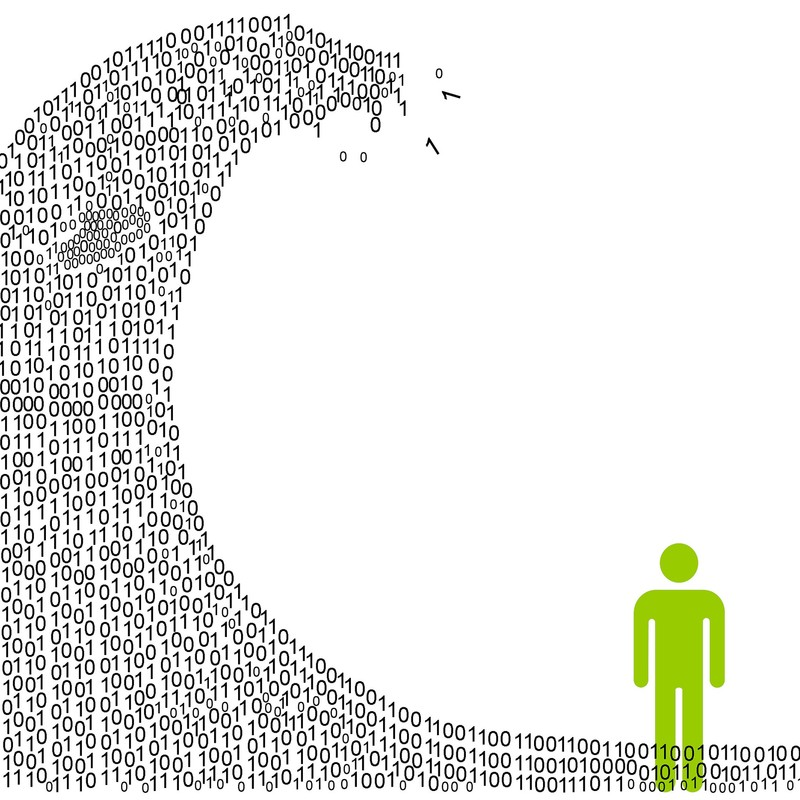 An illustration depicting a man with a digital information tidal wave of 1s and 0s about to break over his head.