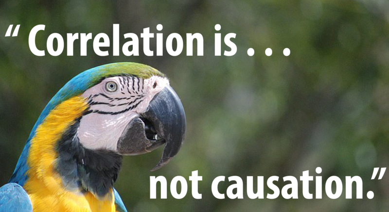 "A parrot quoting the famous phrase, ""Correlation is not causation""."