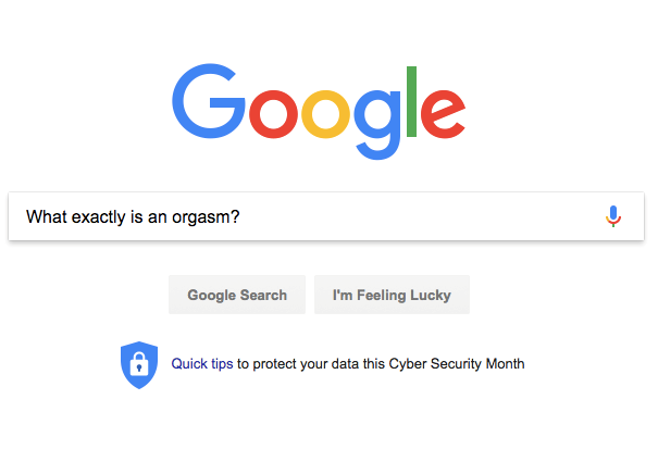 "A Google search field with the question ""What exactly is an orgasm?""."