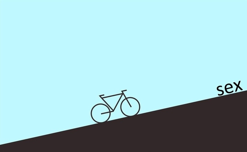 "An illustration of a bicycle on an uphill climb towards the word ""sex""."