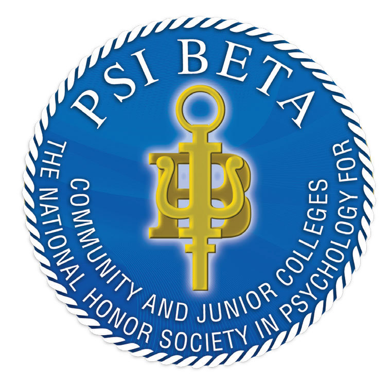 "An image of Psi Beta Logo - blue circle with a yellow key that also has the appearance of the Greek letter ""Psi"" to denote ""Psychology"" and ""b"" for ""Beta"" and the words: ""Psi Beta: The National Honor Society in Psychology for Community and Junior Colleges"