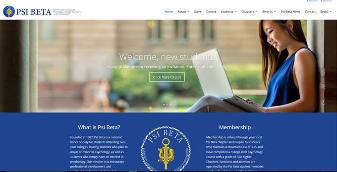 "A screengrab of Psi Beta's Welcome Page. Contains a ""Welcome Students"" banner and various collections of information such as ""What is Psi Beta"" and ""Membership"""