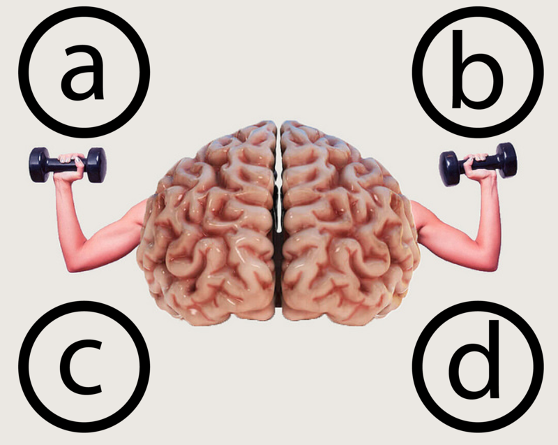 An images of a brain with arms flexing weights and the traditional four answer options for tests - a, b, c, d, located at each corner of the image.