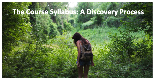 "A photo of a woman walking in the woods and a caption on the photo that reads: ""The course syllabus: A discovery process"