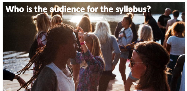 "Young people conversing. The image caption reads: ""Who is the audience for the syllabus?"""