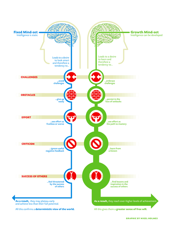 An image depicting a Fixed vs Growth Mindset and the challenges, obstacles, effort, criticism and success of others and how those differ between the two mindsets.