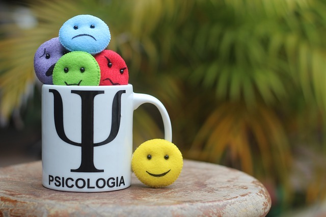A cup with round plushies depicting various human emotions such as joy or sadness. The cup has a Greek letter Psi on it and a word Psicologia written on it.