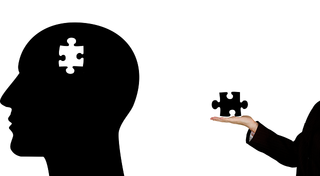 An image with an outline of a head with a puzzle piece missing and a hand on the other side of the image holding a puzzle piece.