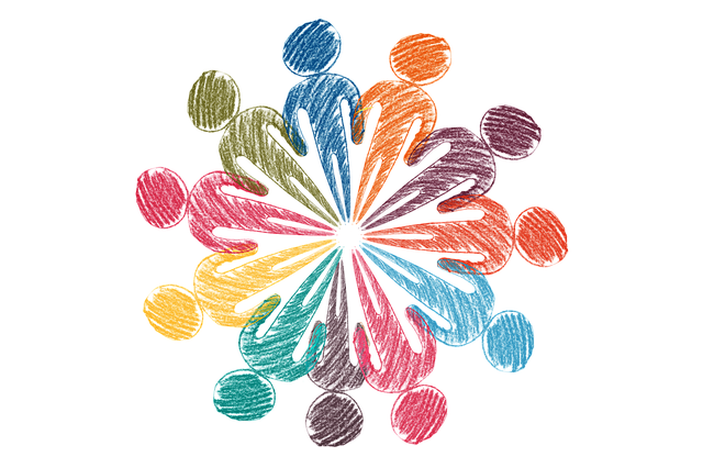 Image of stick figures depicting people standing in a circle using different color pencils